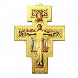 St Damian Crucifix in golden mdf 13.5x18 cm