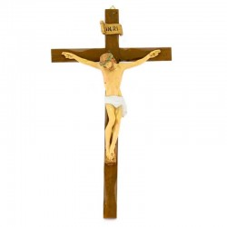 Wooden crucifix body of Jesus in polyethylene 17x30 cm