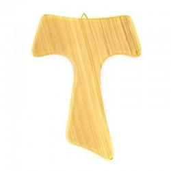 Wall Tau cross in olive wood 13x17 cm
