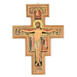 Saint Damien Crucifix with golden border 30x40 cm