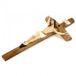 Curved cross crucifix in colored resin 13x29 cm