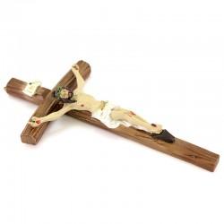 Curved cross crucifix in colored resin 10x19,5 cm