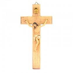 Crocifisso corpo in resina croce legno 12,5x25,5 cm