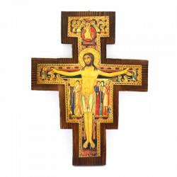 Saint Damien Crucifix dark wood 32x42 cm