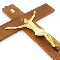 Wood Crucifix with Jesus in painted plastic  24x37 cm