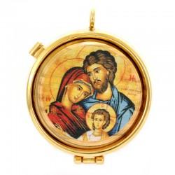 Teca porta Ostie in ulivo Sacra Famiglia Diametro 5,5 cm