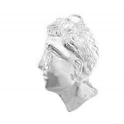 Ex voto in metallo testa di uomo 9x13 cm