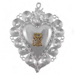 Metal Ex Voto Heart Flame and Angel 13x17 cm