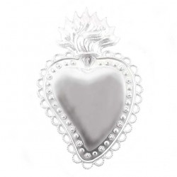 Metal Ex Voto Smooth decorated Heart 10x16 cm