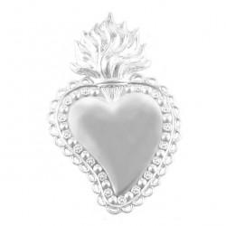 Ex Voto Decorated Heart Silver 925°° 7x10 cm