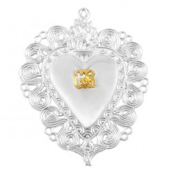 Ex Voto Heart Flame and Angel Silver 925°° 10x13 cm