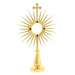 Portareliquie modello sole ottone dorato 20 cm