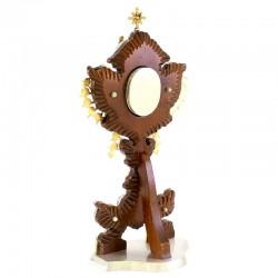Wood Case & Bicolor Brass Reliquary 36 cm