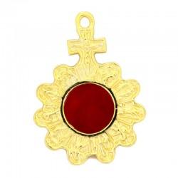 Reliquiario metallo dorato decorato 8,5x11,5 cm