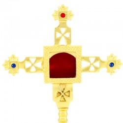 Reliquary Cross in golden metal 24 cm
