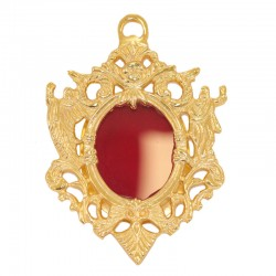 Reliquary in pierced golden metal 9x11 cm