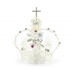 Silvery Metal Crown for Statue with rhinestones diameter 6 cm