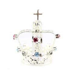 Silvery Metal Crown with rhinestones diameter 2.5 cm