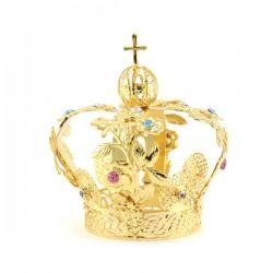 Corona floreale per statua in metallo dorato con strass