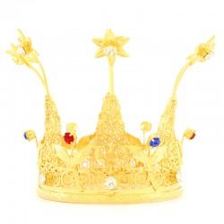 Corona reale con strass colorati Diametro 10 cm