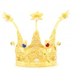 Corona reale con strass colorati Diametro 8 cm