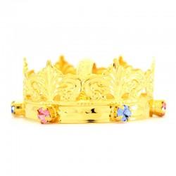 Mini corona reale con strass colorati Diametro 5 cm