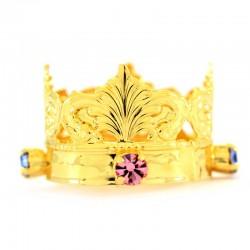 Mini corona reale con strass colorati Diametro 3 cm