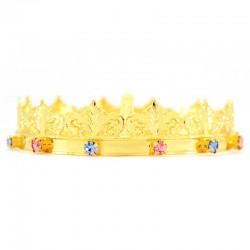 Mini corona reale con strass colorati Diametro 10 cm