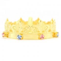 Mini corona reale con strass colorati Diametro 7 cm