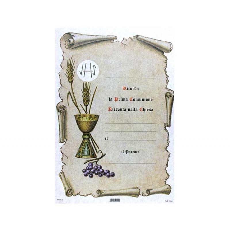 Pergamena prima comunione calice uva e 2 spighe 25x17 cm for Immagine pergamena da colorare