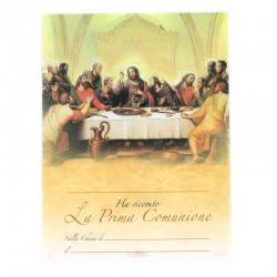 Pergamena Prima Comunione la Cena con oro a caldo 24x18 cm