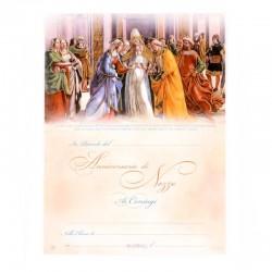 Pergamena Anniversario Nozze oro a caldo 18x24 cm