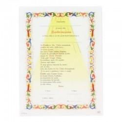Pergamena Cresima con preghiera Credo 24x18 cm