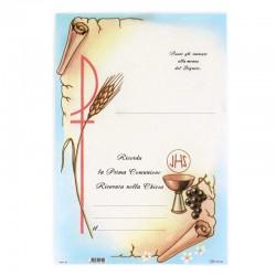 Pergamena Prima Comunione Spigha Uva e calice 17x25 cm