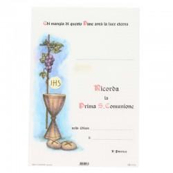 Pergamena Prima Comunione Simboli Eucaristici 17x25 cm
