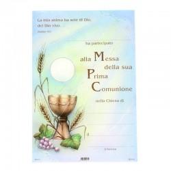 Pergamena Prima Comunione calice, grano e uva 17x25 cm