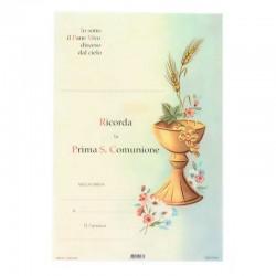 Pergamena Prima Comunione Calice e fiori 17x25 cm