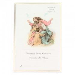 Pergamena Prima Comunione Gesù e pargoli 17x25 cm