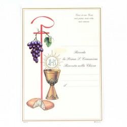 Pergamena Prima Comunione calice, pane e uva 17x25 cm