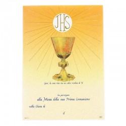 Pergamena Prima Comunione Calice con oro a caldo 21x30 cm