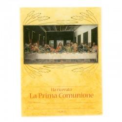 Pergamena Prima Comunione Ultima Cena oro caldo 18x24 cm