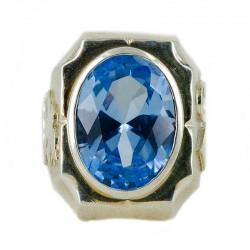 Anello con pietra semipreziosa blu Colomba e Alfa e Omega