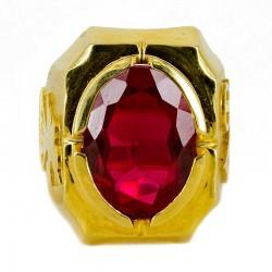 Anello con pietra semipreziosa rossa Colomba e Alfa e Omega