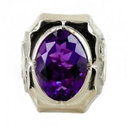 Anello con pietra semipreziosa viola Colomba e Alfa e Omega