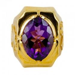 Anello argento dorato con pietra semipreziosa viola Colomba e Alfa e Omega