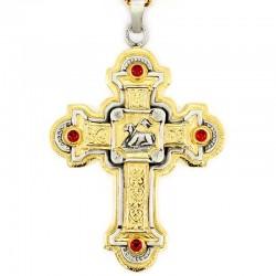 Croce pettorale Agnello e pietre 9x12 cm con catena