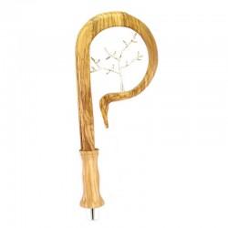 Pastorale in legno di ulivo decoro rametti 190 cm