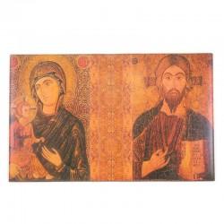 Copri lezionario vera pelle Cristo e Madonna 22x32x6 cm