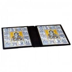 Copri Messale lusso in pelle placche argento 31,7x23,7x9,7 cm