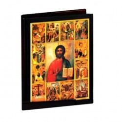Leather Lectionary Cover Christ and scenes 31.7x24.5x7.5 cm